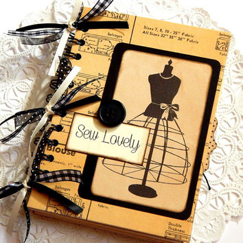 Sewing Journal. Junk Journal. Writing Journal. Notebook. Smash Book. Art Journal. Planner. Diary. Scrapbook Album. Sewing Ephemera. Spiral.
