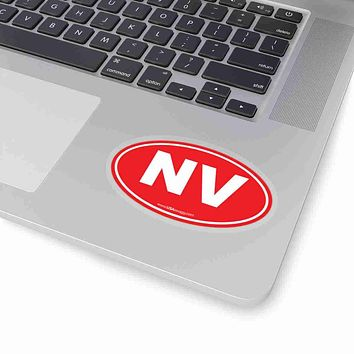 Nevada NV Euro Oval Sticker SOLID RED