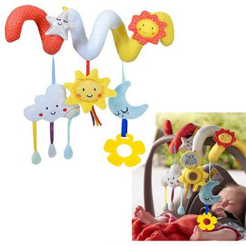 Baby Rattles Toys Sun/Moon/Colud Plush Toy Super Soft Multifunctional Bed Crib Hangings Kids Toy For Christmas Gift