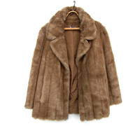 Vintage Faux Fur Coat - Light Brown Blonde Mink Fur Jacket - Medium Large Vegan