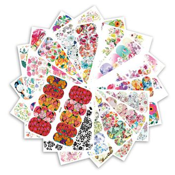 Full Beauty 25 Sheets Flower Series Nail Water Decals Stickers Full Stencils DIY Manicure Women Nail Butterfly Tips CHWG266-290