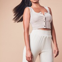 Missguided - Sand Ribbed Sleeveless Popper Front Crop Top