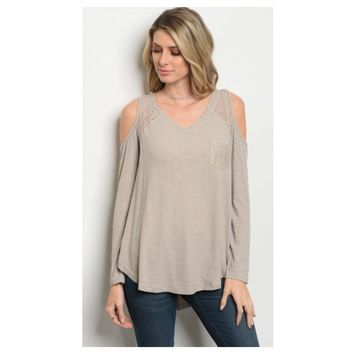 Adorable Cold Shoulder Taupe Top