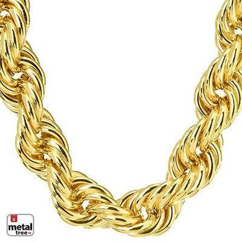 """Jewelry Kay style Men's Hip Hop Iced 14K Gold Finish Hollow Chunky Rope Chain Necklace 16 mm 30"""""""