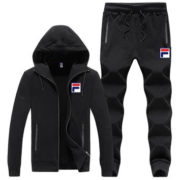 FILA autumn and winter new sports men's casual fashion running clothes two-piece Black