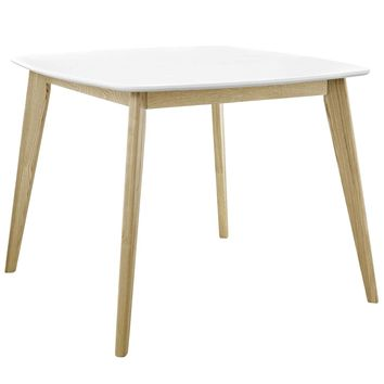 "Stratum 40"" White Square Mid-Century Inspired Dining Table"