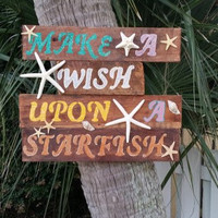 Rustic hand painted wooden sign - Beach decor - Wall hanging