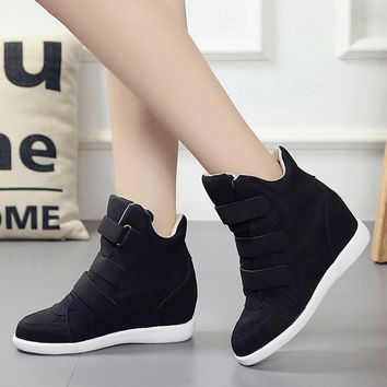 Newest Autumn Winter Outdoor Women High Top Sneakers Hidden Wedges Solid Shoes Ladies 2017 Breathable Sport Shoes For Students