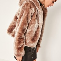Missguided - Brown Hooded Short Faux Fur Coat