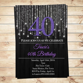 Forty and Fabulous Purple 40th Elegant Birthday Party Invitation, Silver and purple invitations, black light party,  Art Party Invitation
