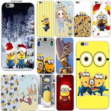 Happy Yellow Minions Soft Slim Phone Cases TPU Silicon Transparent Cover for iPhone 8 7 6 6S Plus X 5 5S SE 5C 4 Shell Fundas