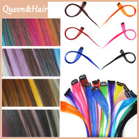 5pcs/Lot Fashionable Synthetic Long Straight Colorful Hair Clip In On Hair Extensions Piece Highlight Long Hairpiece