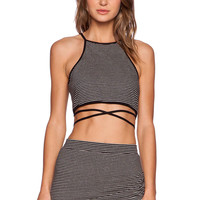 Lovers + Friends Star Goddess Crop Top in Black & White Stripe