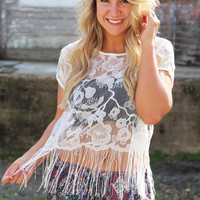 Lace + Fringe Blouse {Off White}