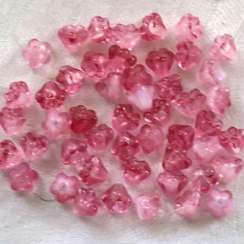 Lot of 50 6mm x 4mm Crystal Milky Pink baby Bell Flower Czech glass beads, pressed glass beads C3901
