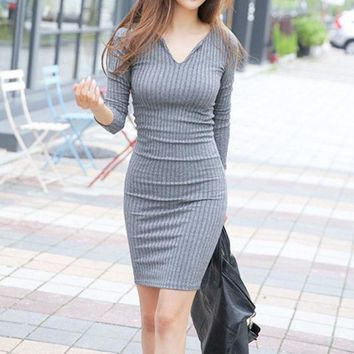 DCCKXT7 Fashion  Solid Color Ribbed V-Neck Long Sleeve Knit Bodycon Mini Dress