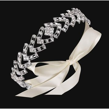 Handmade Crystal Floral Leaf with Lace Ribbon Bridal Headpiece