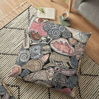'Fossils for history, dinosaur and archaeology lovers' Floor Pillow by Chloé Yzoard