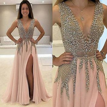 Tidetell Deep V-Neck Long Prom Dresses 2017 Beaded Sparkling Shiny Party Dresses High Side Split Backless Cheap Evening Dresses