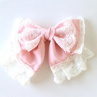 loita fairy kei kawaii pink chiffon bow french by MasumiBoutique