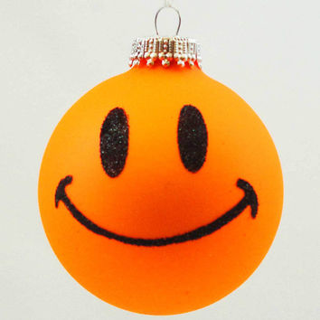 Holiday Ornaments SMILEY FACE Glass Ornament Ball Happy 20138 Neon Orange