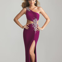 Magenta Jersey Rhinestone One Shoulder Cut Out Prom Dress - Unique Vintage - Cocktail, Pinup, Holiday & Prom Dresses.