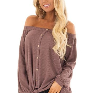 Dusty Mauve Off the Shoulder Top with Balloon Sleeves