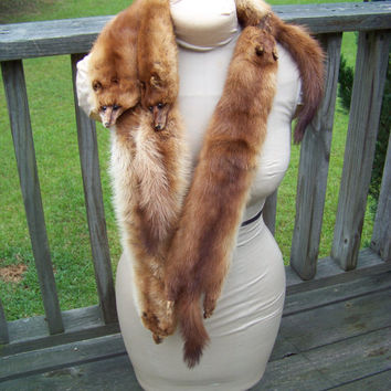 Vintage Mink Fur Pelt Collar Fur Stole by Silverman Furs...Mid Century Mod...Luxurious...Fashionable...Fashionista...Mad Men...Fur Collar