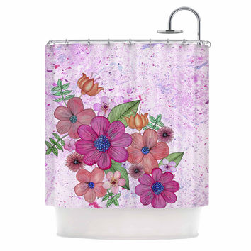 "Julia Grifol ""My Garden In Pink"" Magenta Floral Shower Curtain"