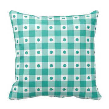 Green And White Gingham Check Dots Pattern Throw Pillows