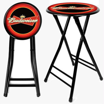 Budweiser 24 Inch Cushioned Folding Stool - Black