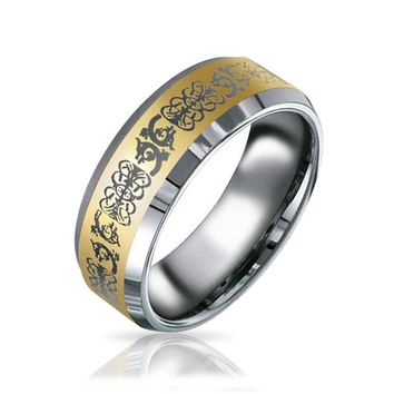 Gold Plated Mens Celtic Dragon Band Ring 8mm
