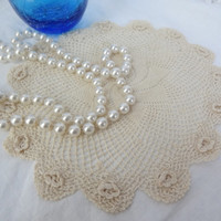 crochet doilie round cream table topper doily doilies