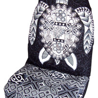 Black Sea Turtle (Honu) Hawaiian Car Seat Cover