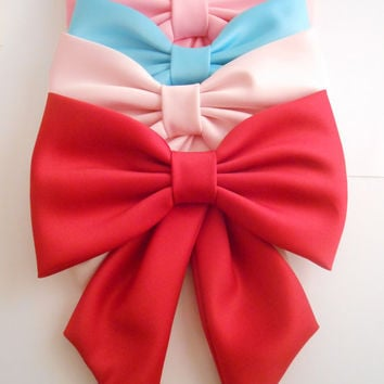 Big Satin Fabric Hair Bow. Extra Large Hair Bow, Big Bow, Retro Hair Bow, Fabric Hair Bow