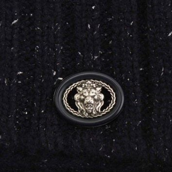 AUTHENTIC CHANEL 2013 TWEED CASHMERE SCARF LION BUTTON NAVY GRADE A USED-AT