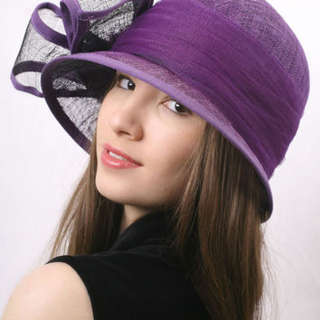 Ascot hat FREE SHIPPING! Summer Purple Classic Cloche Hat, Wedding hat, Special Event High Tea Party hat, Racing derby hat, Gatsby style hat