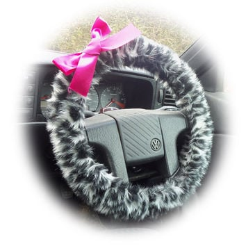 Snow Leopard steering wheel cover animal print cheetah wrap faux furry fur fluffy fuzzy car truck jeep with Hot Barbie Pink Satin Bow