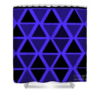 Black and Blue Triangles Shower Curtain
