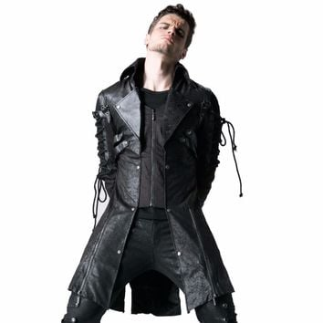Gothic Retro Style Faux Leather Long Coats for Men Steampunk Military Uniform Autumn Winter Punk Jacket Fashion Casual Overcoats