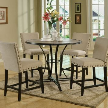 """Acme 71935-37 5 pc Byton antique light oak finish 45"""" round wood and black frame counter height dining table set"""