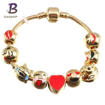 BAOPON Fashion Emoji Crystal Beads Charm Bracelet For Women Gold European Diy Snake Chain Brand Bracelets & Bangles Pulseira