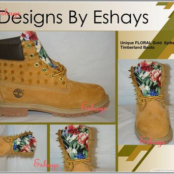 Custom Gold Spiked Timberland, Asian Floral Timberland Boots