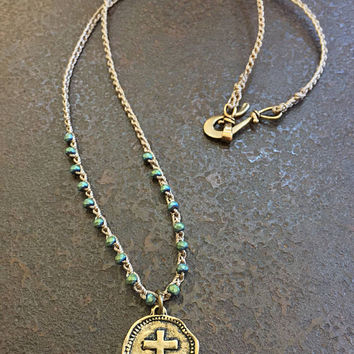 Knotted Boho Crochet Necklace, Cross Coin Pendant, Summer Festival Bohemian Beaded Jewelry by Two Silver Sisters