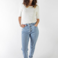 Vintage 90s Light Wash Button Fly High Waist Jeans | 6/8