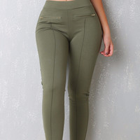 Above Perfection Olive Pants