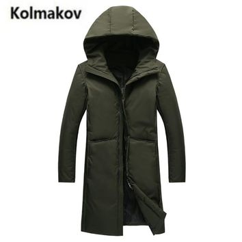 KOLMAKOV 2017 new winter high quality men's fashion hooded collar long down jacket parkas,solid color 80% white duck down coats.