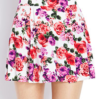 FOREVER 21 Garden Girl Skirt Cream/Purple Large