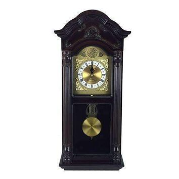 """Bedford Clock Collection 25.5"""" Antique Mahogany Cherry Oak Chiming Wall Clock with Roman Numerals"""