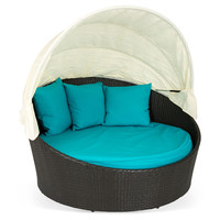 Siesta Canopy Bed, Espresso/Turquoise, Outdoor Daybeds